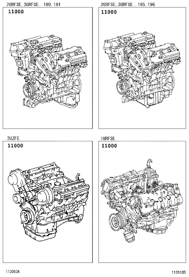 Lexus GS 300 Engine assembly, partial - 1900031680 ...