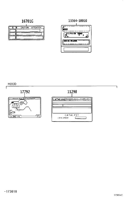 Lexus Rx 330 Label  Plate  Engine Vacuum Hose Information