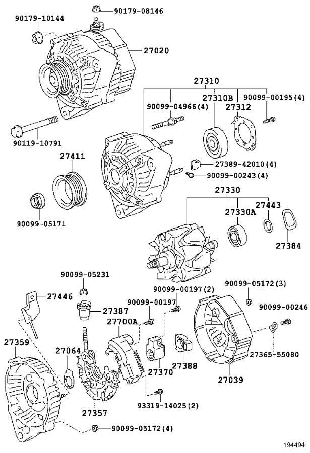 Lexus LS 400 Frame, alternator rectifier end. Usa, engine ...