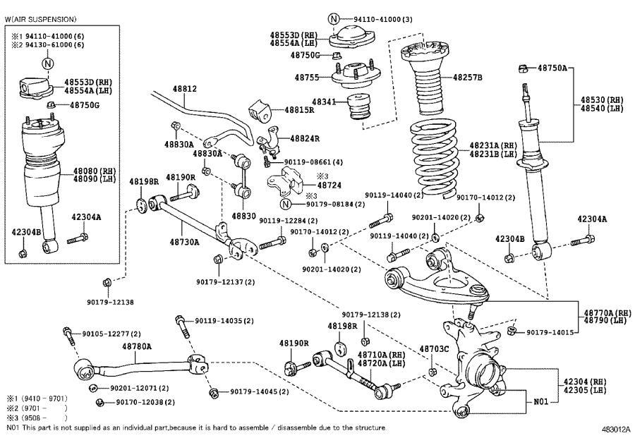Lexus Ls 400 Rod Assembly  Strut  Rear