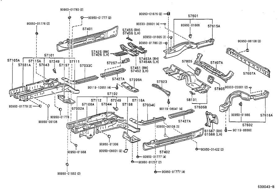 lexus sc 400 brace  center floor crossmember  body
