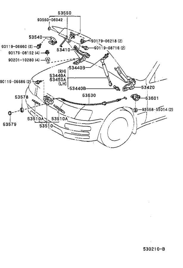 lexus ls 400 hinge assembly  hood  right  lock  interior  body