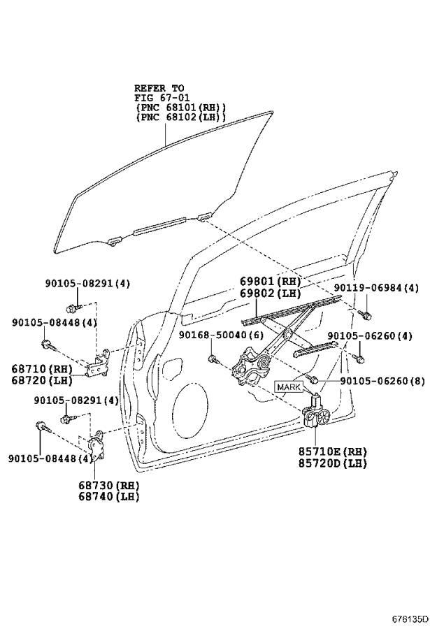 Lexus Hs 250h Motor Assembly  Power Window Regulator  Left