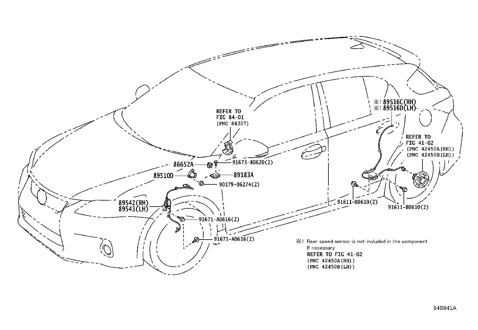 Lexus Ct 200h Abs Wheel Speed Sensor  Right  Front