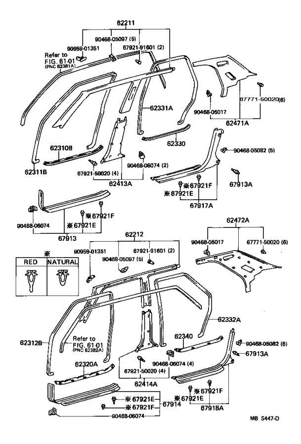 Lexus Ls 400 Weatherstrip  Rear Door Opening Trim  Left